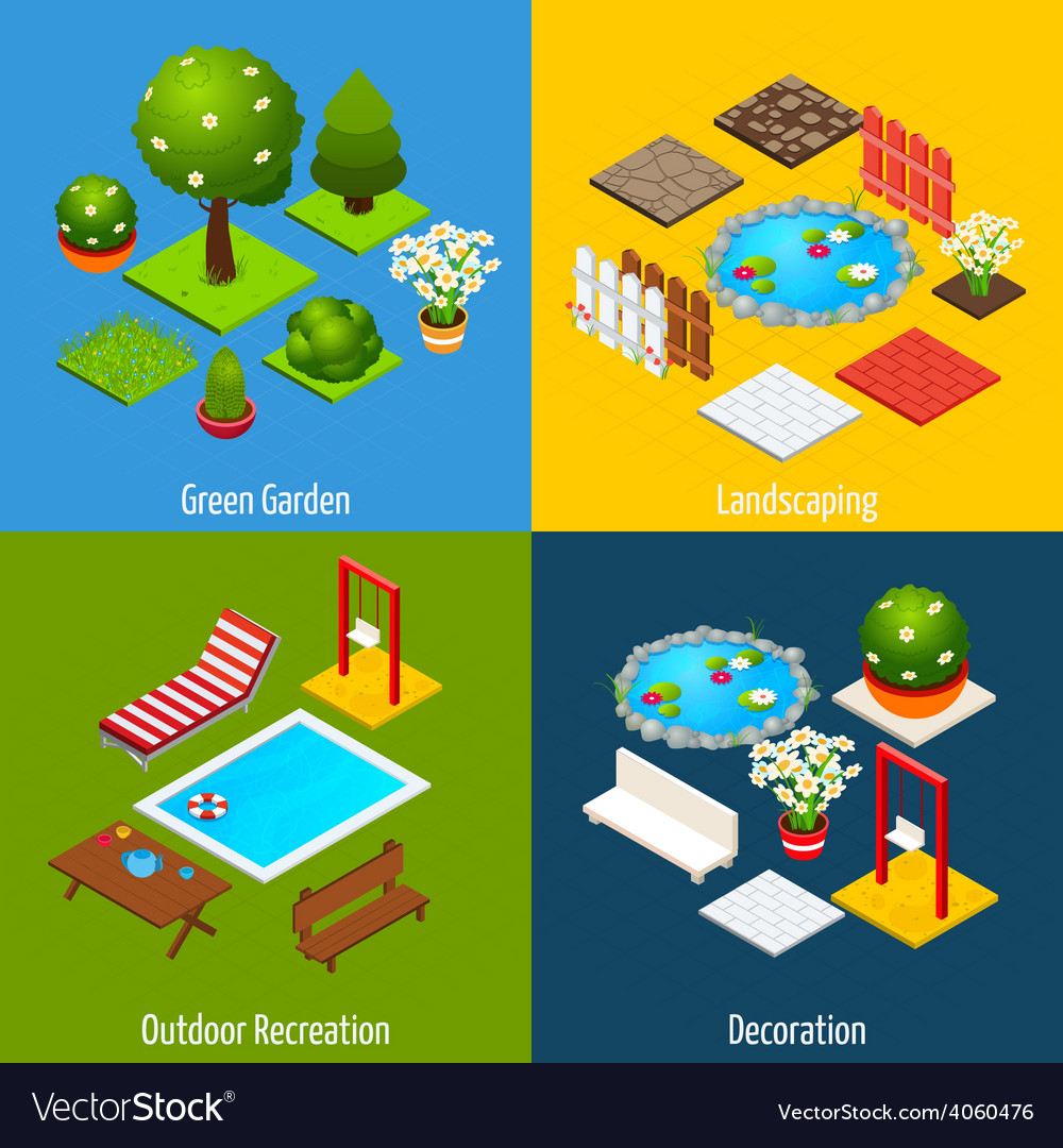 Landscape isometric design vector | Price: 1 Credit (USD $1)