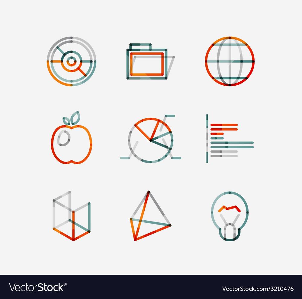 Minimal thin line design web icon set vector   Price: 1 Credit (USD $1)