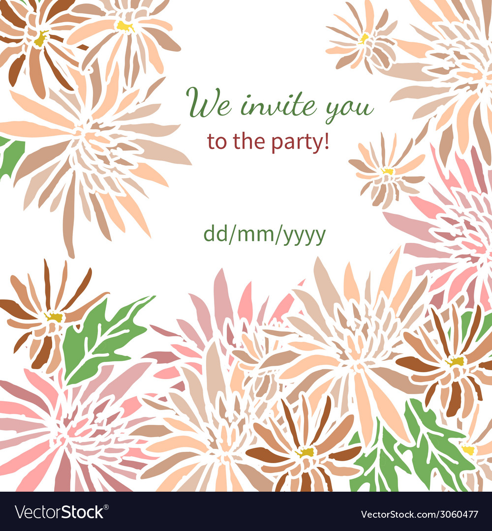 Card with fresh flowers invitation to a great vector | Price: 1 Credit (USD $1)