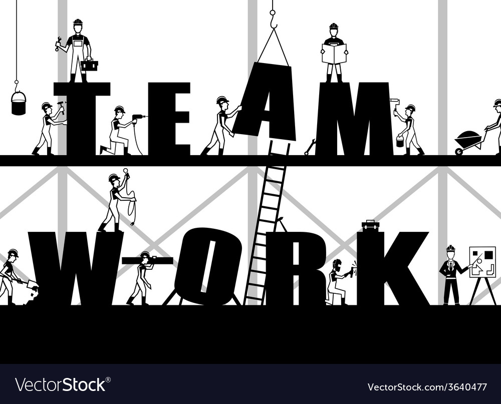 Construction teamwork poster vector | Price: 1 Credit (USD $1)