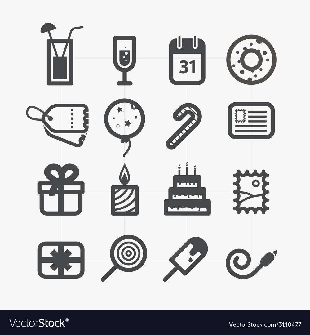 Different holiday icons set with rounded corners vector | Price: 1 Credit (USD $1)