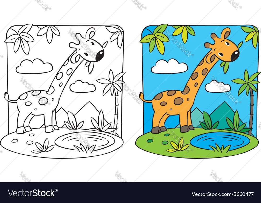 Giraffe coloring book vector | Price: 1 Credit (USD $1)