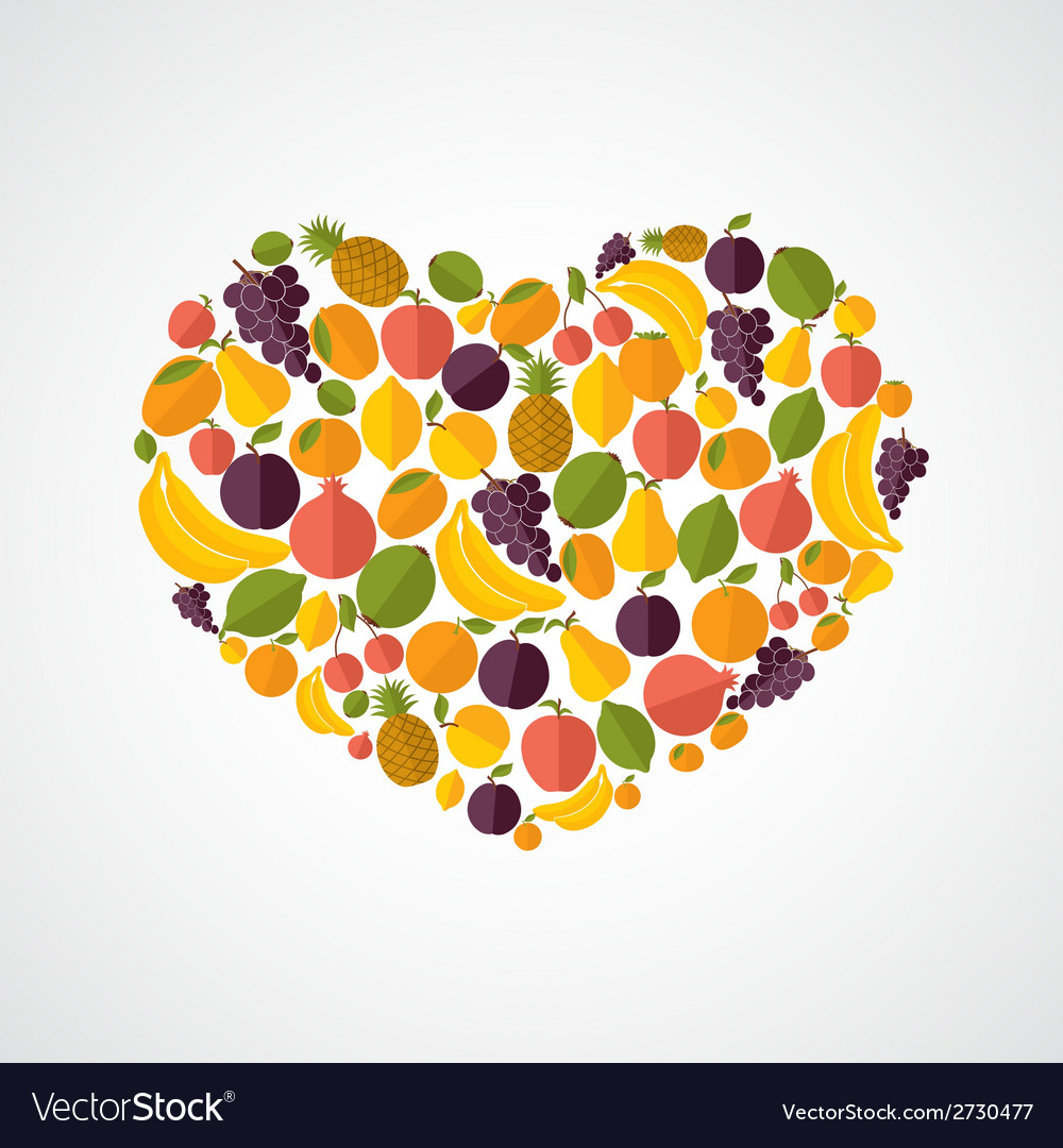 Healthy food heart composition vector | Price: 1 Credit (USD $1)
