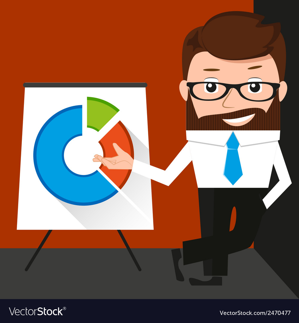 Lucky businessman is presenting a round diagram vector   Price: 1 Credit (USD $1)