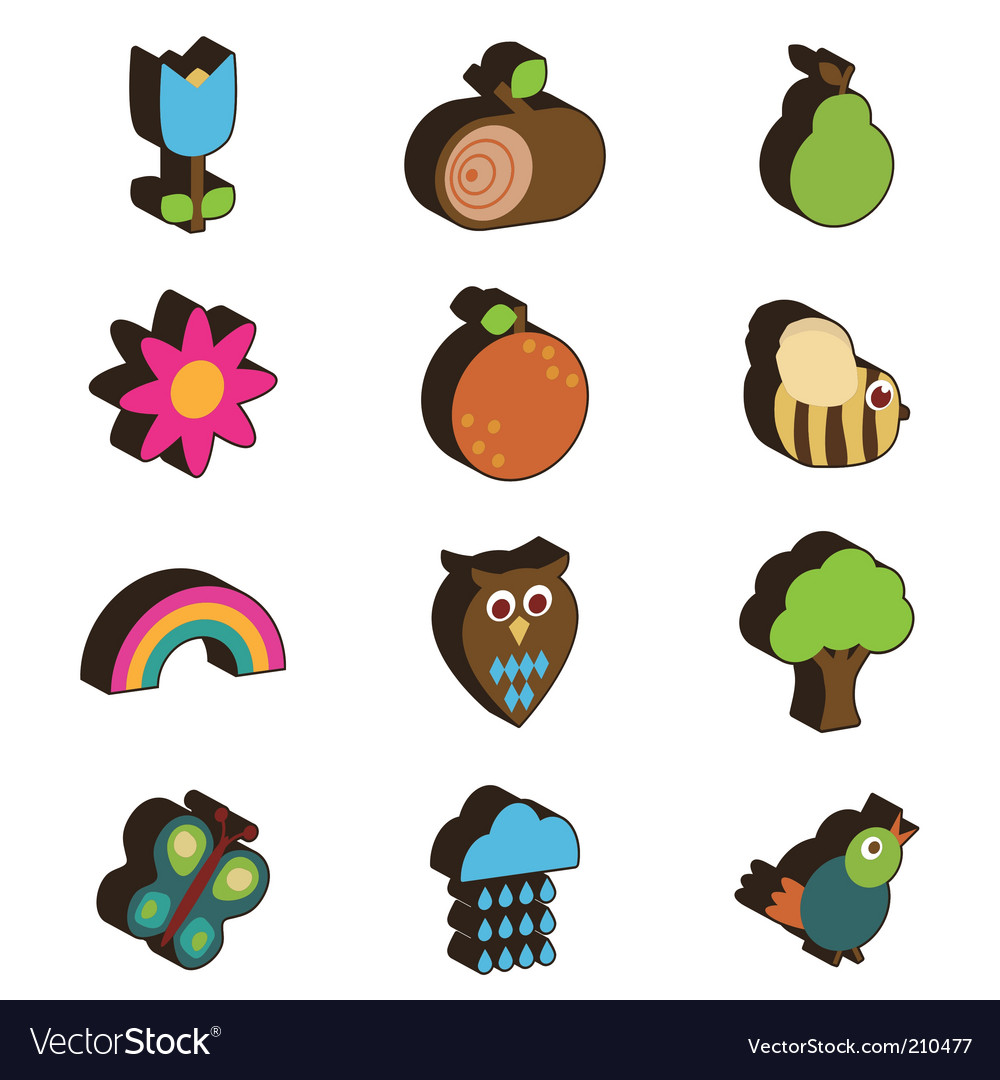 Nature 3d icons vector | Price: 1 Credit (USD $1)