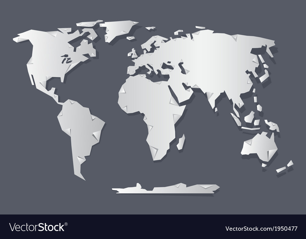 Paper world map vector | Price: 1 Credit (USD $1)