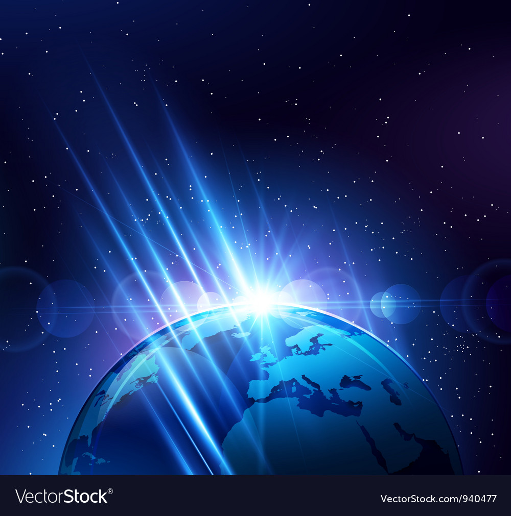 Planet earth in the bright rays of light vector | Price: 1 Credit (USD $1)