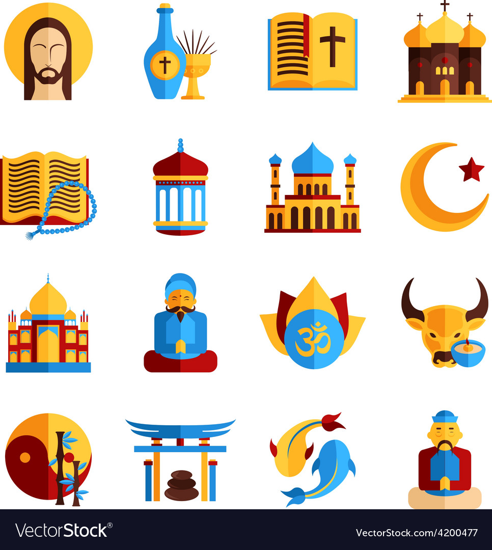 Religion icon set vector | Price: 1 Credit (USD $1)