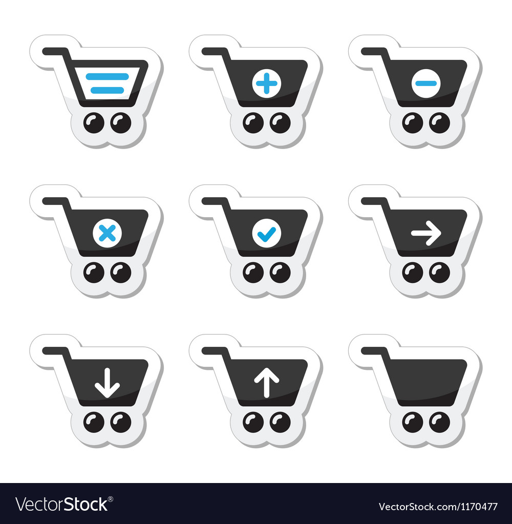 Shopping cart icons set vector | Price: 1 Credit (USD $1)