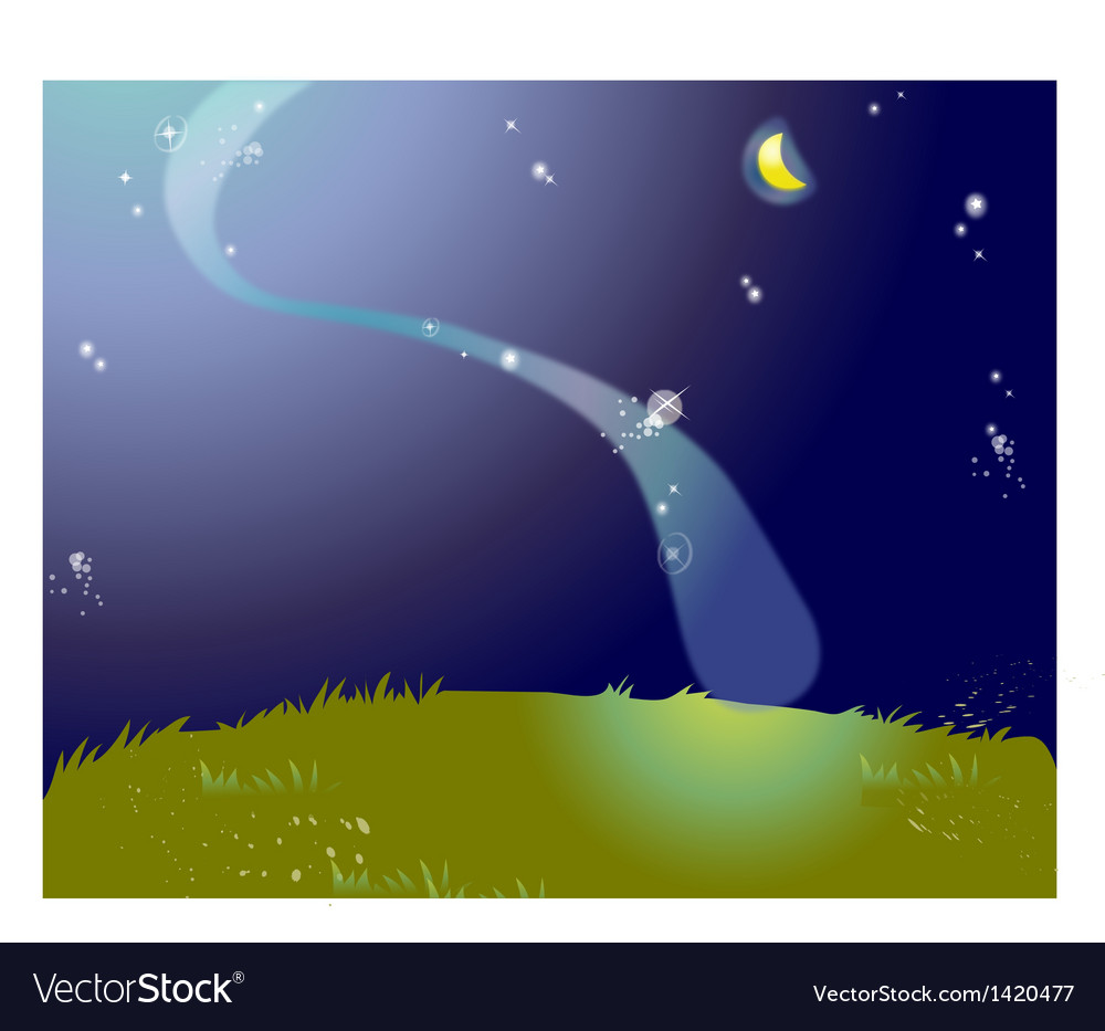 Starry nights lanscape vector | Price: 1 Credit (USD $1)