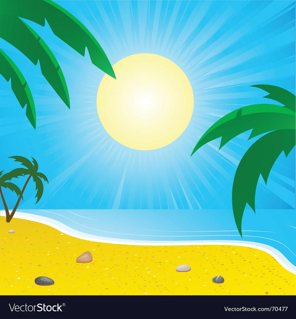 Summer beach and palm trees vector | Price: 1 Credit (USD $1)