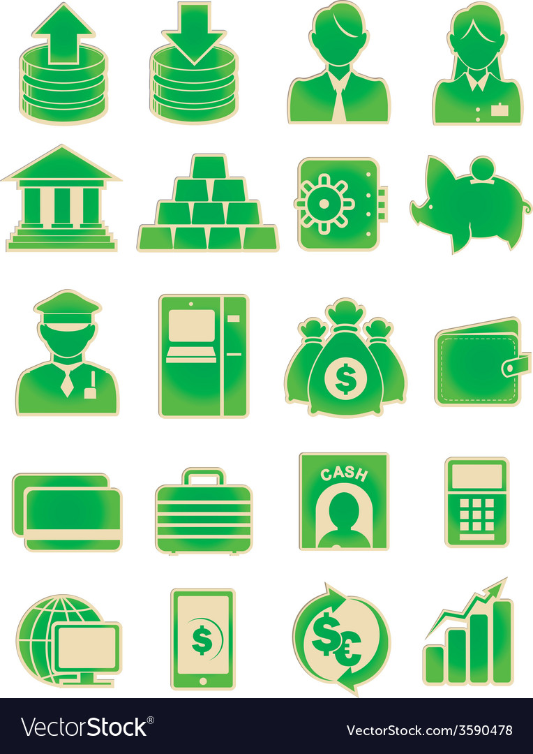 Bank icon set vector | Price: 1 Credit (USD $1)