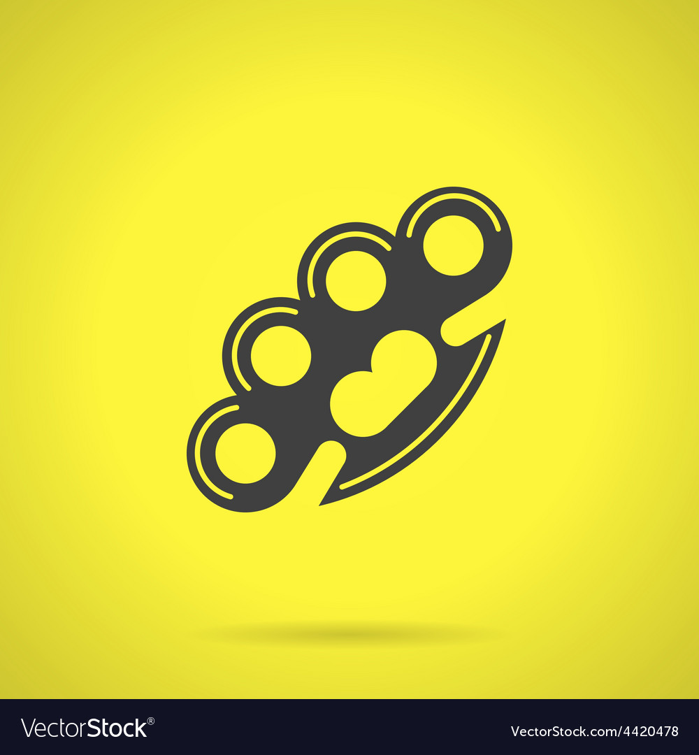 Black brass knuckles flat icon vector | Price: 1 Credit (USD $1)