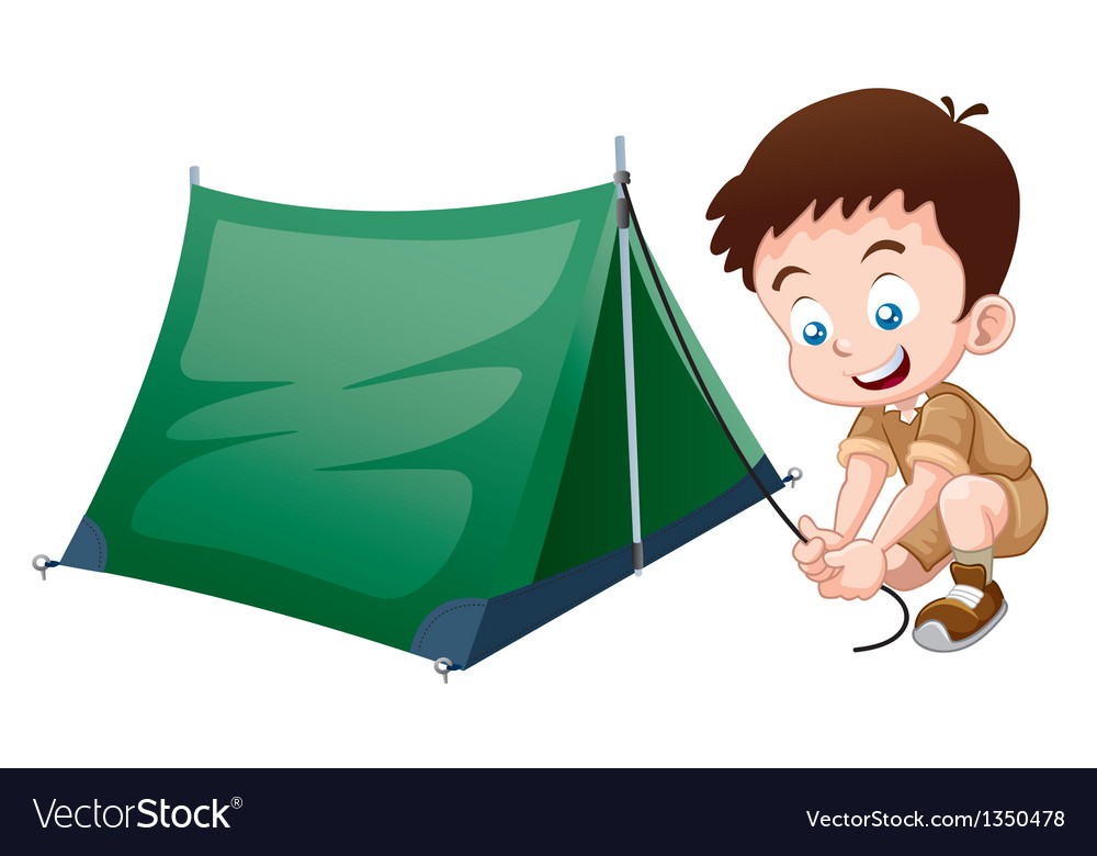 Boy scout with camping tent vector | Price: 3 Credit (USD $3)