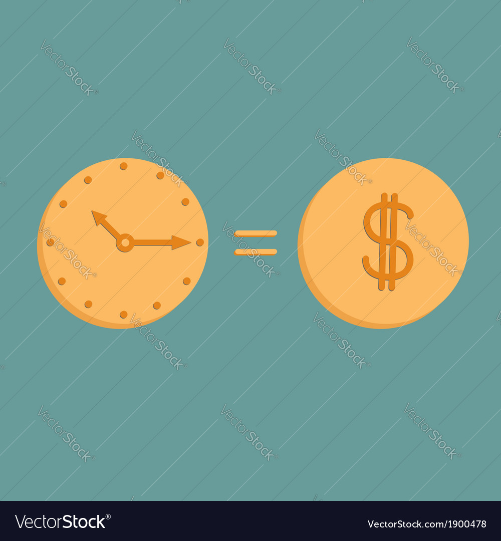 Clock and dollar coin icons time is money vector | Price: 1 Credit (USD $1)