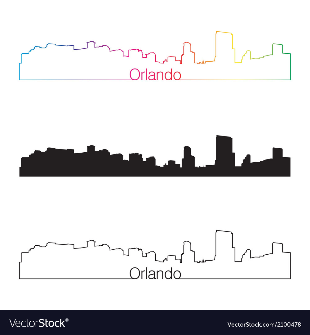 Orlando skyline linear style with rainbow vector | Price: 1 Credit (USD $1)