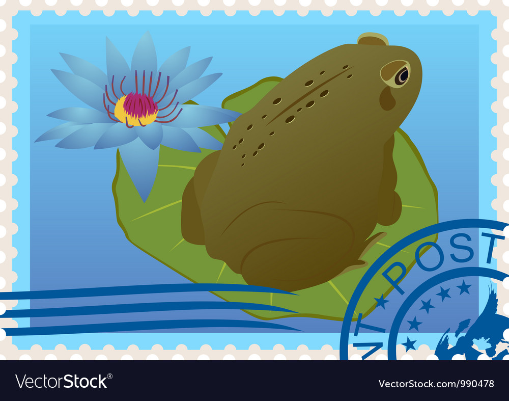 Postage stamp with a frog vector | Price: 3 Credit (USD $3)