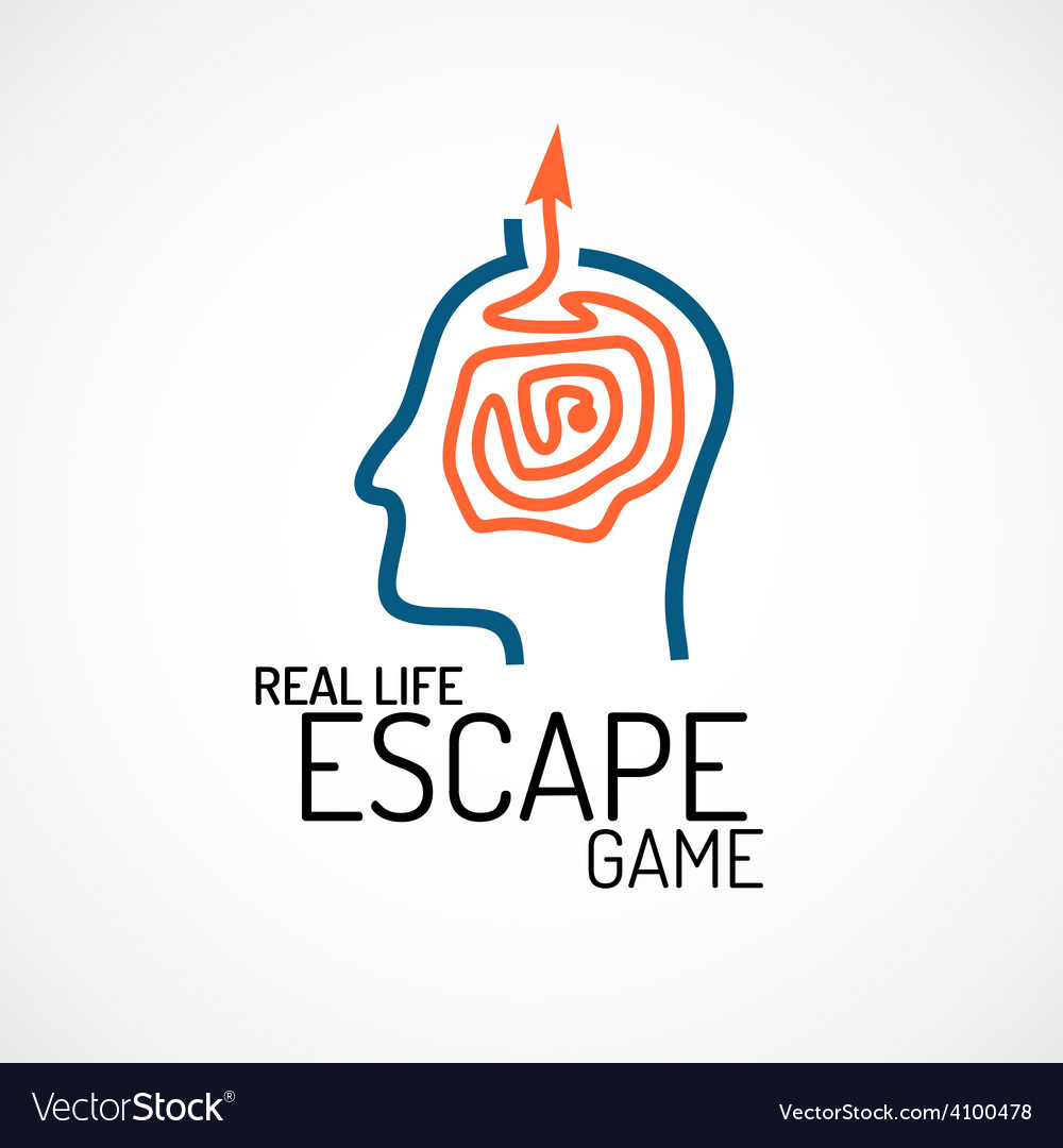 Real life escape quest game logo template vector