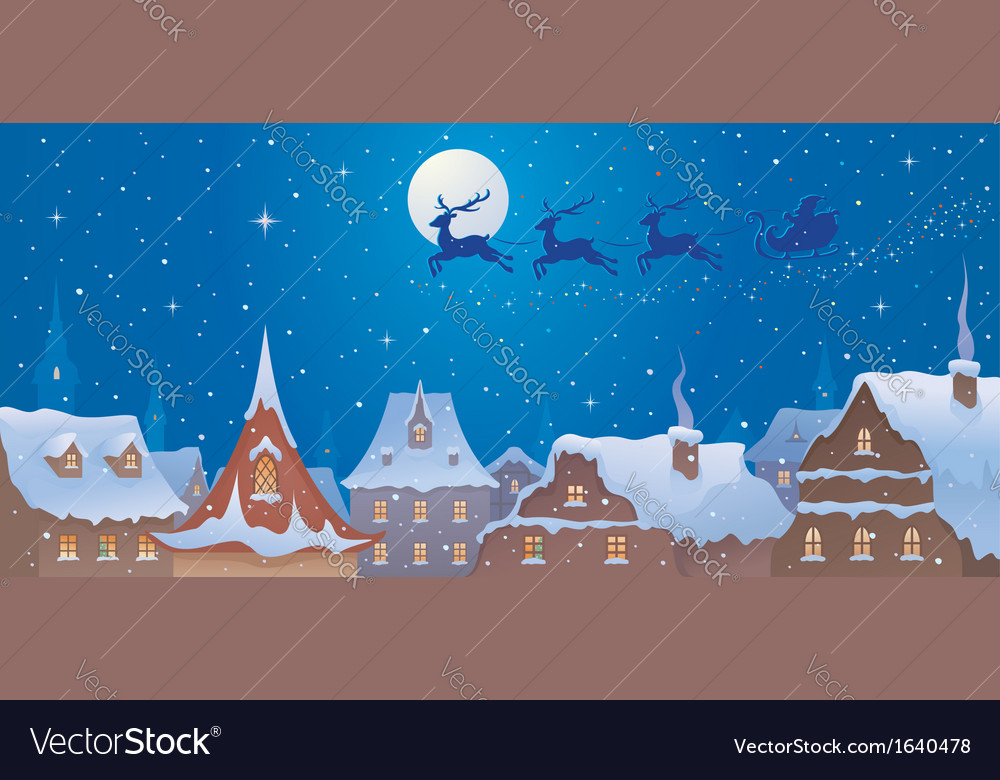 Santa sleigh above town vector | Price: 3 Credit (USD $3)