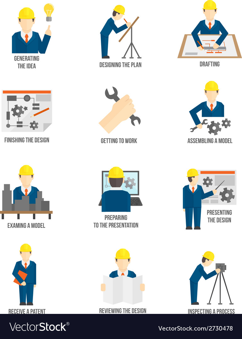 Set of engineer icons vector | Price: 1 Credit (USD $1)