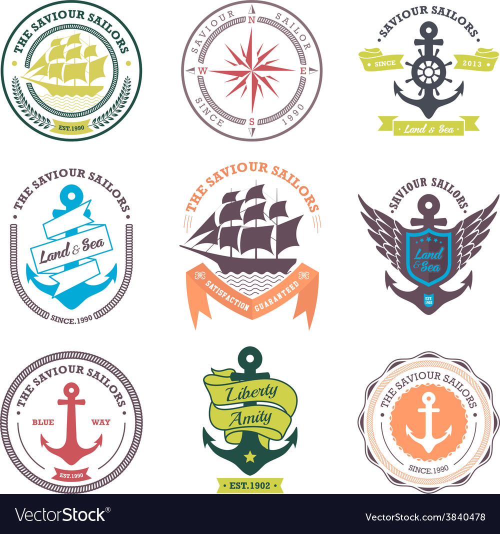 Set of vintage retro nautical badges and labels vector | Price: 1 Credit (USD $1)