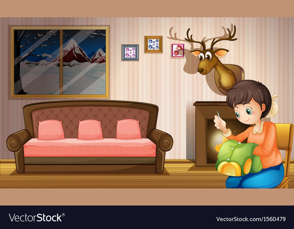A mother sewing clothes inside the house vector   Price: 1 Credit (USD $1)