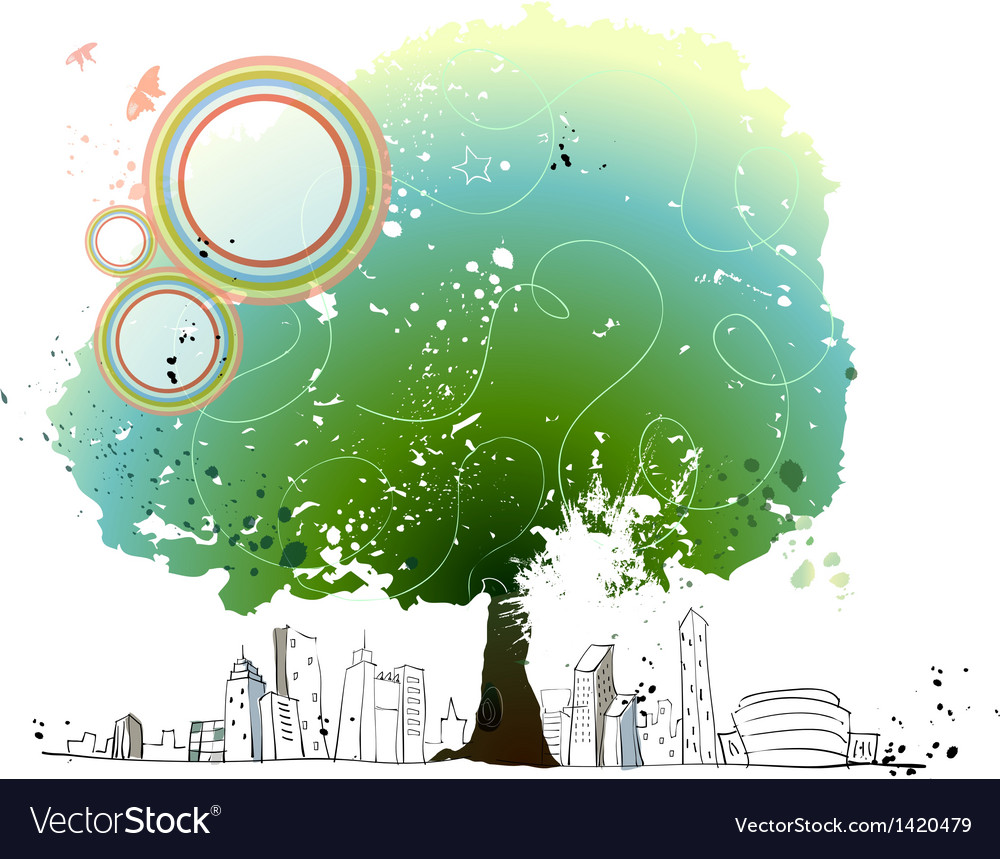 Cityscape park background vector | Price: 1 Credit (USD $1)