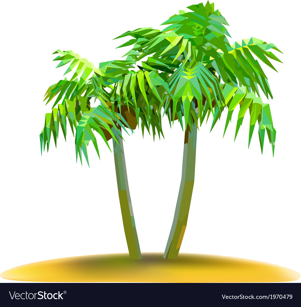 Coconut palm trees on small island vector | Price: 1 Credit (USD $1)