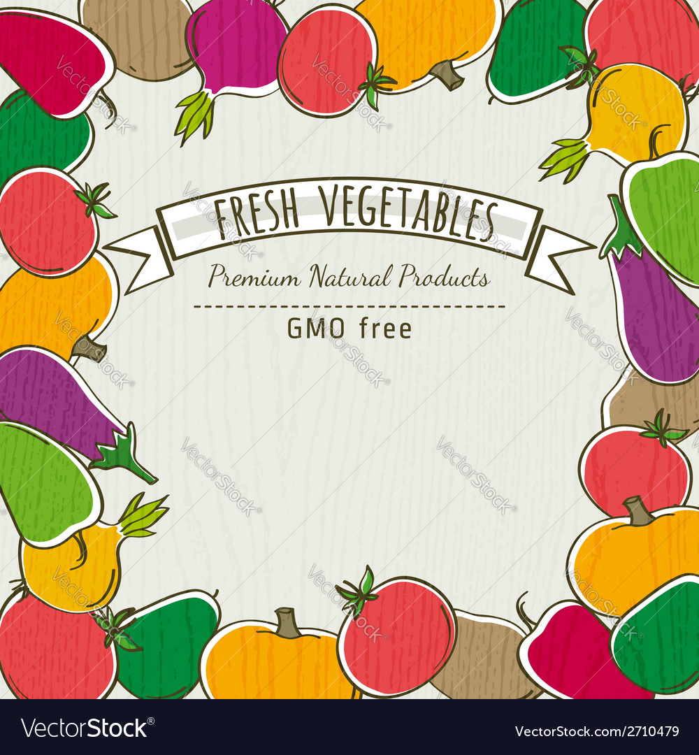Frame of organic vegetable vector | Price: 1 Credit (USD $1)