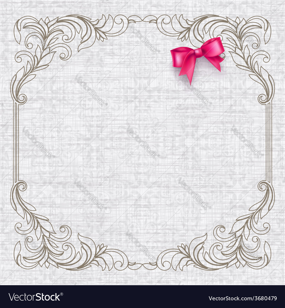Invitation card with vintage elements and bow vector | Price: 1 Credit (USD $1)