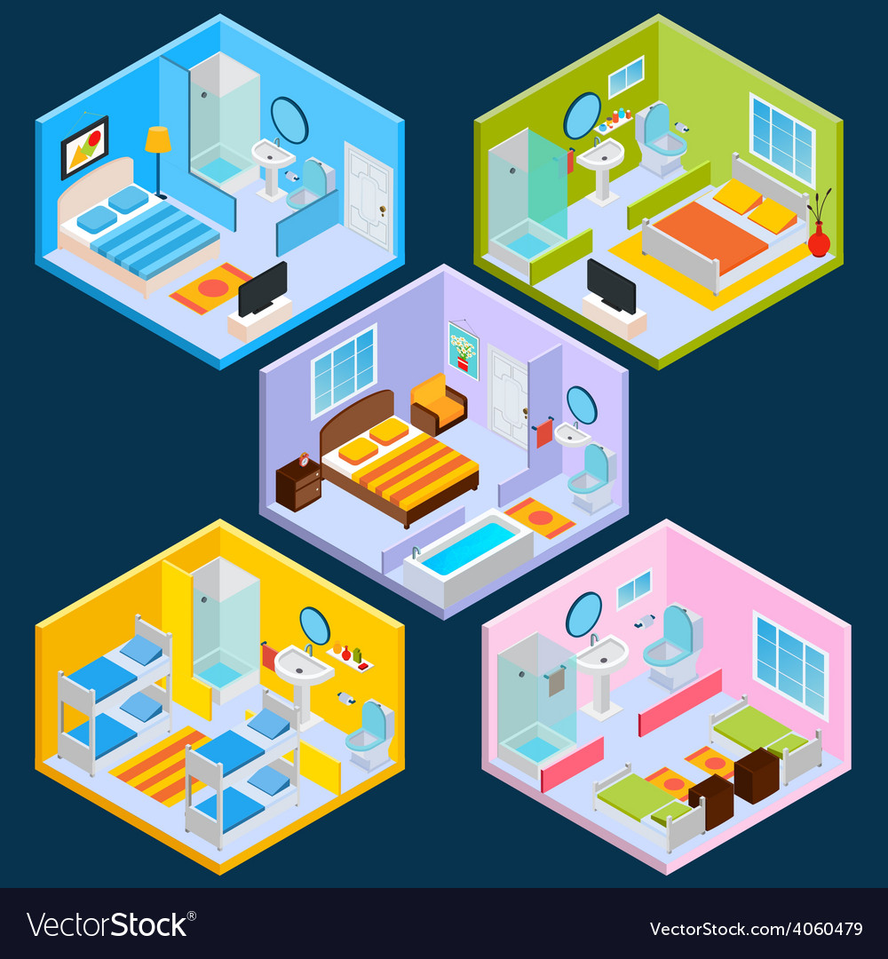 Isometric hotel interior vector | Price: 1 Credit (USD $1)