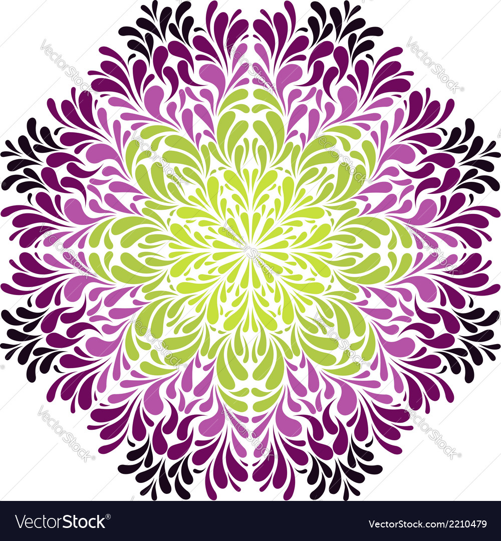 Ornamental round pattern with drops vector | Price: 1 Credit (USD $1)