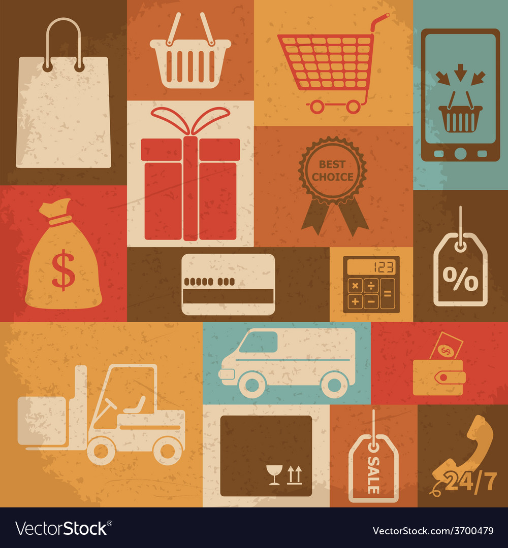 Retro shopping icons vector | Price: 1 Credit (USD $1)