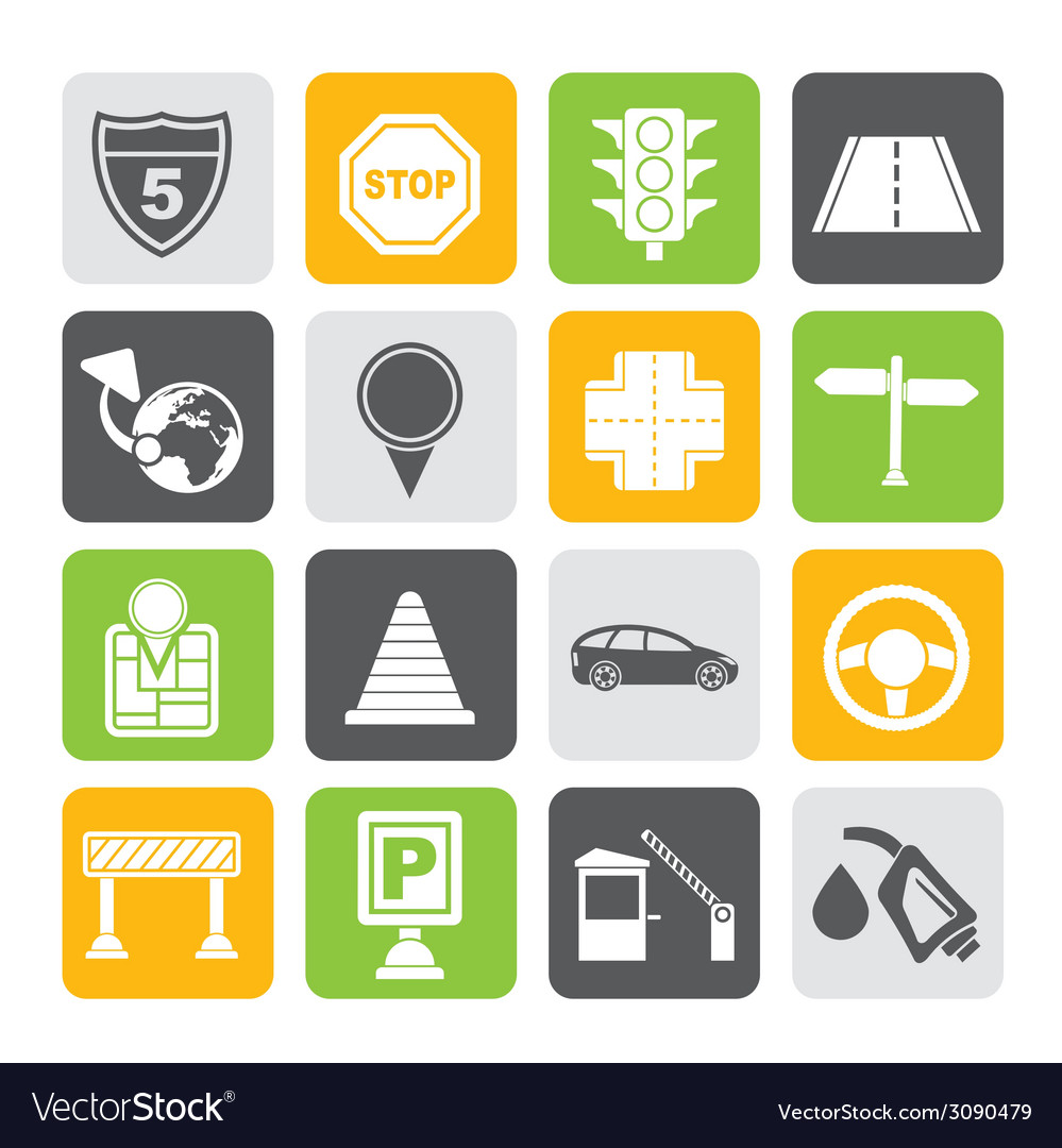 Silhouette road and travel icons vector | Price: 1 Credit (USD $1)