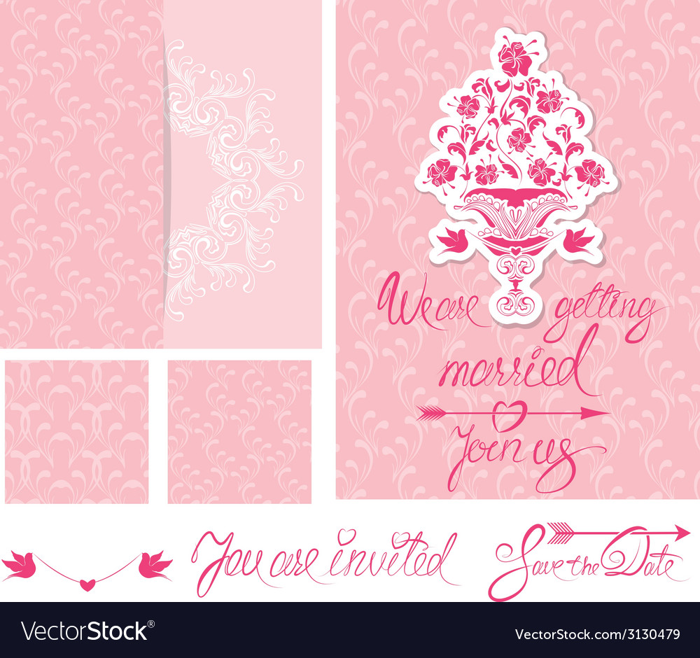 Wedd invitat pink 380 vector | Price: 1 Credit (USD $1)