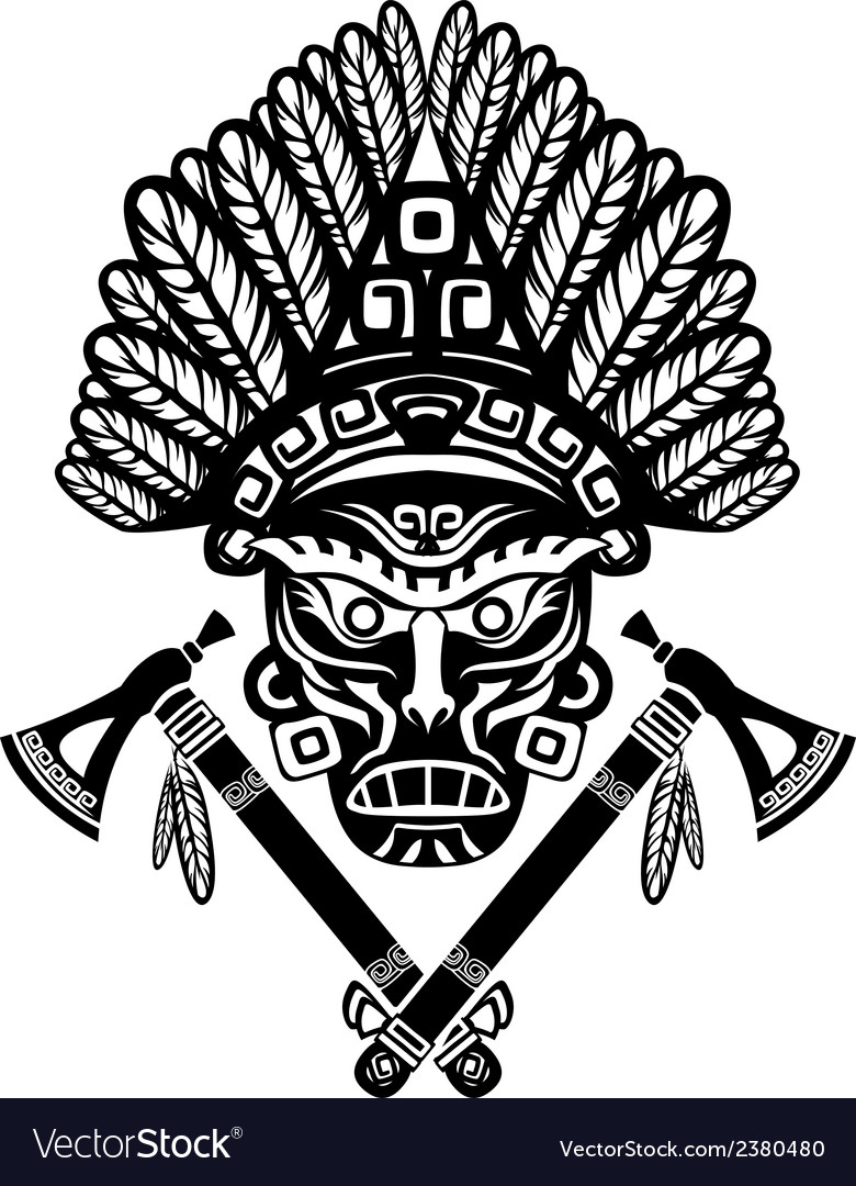 American indian mask with headdress of feathers vector | Price: 1 Credit (USD $1)
