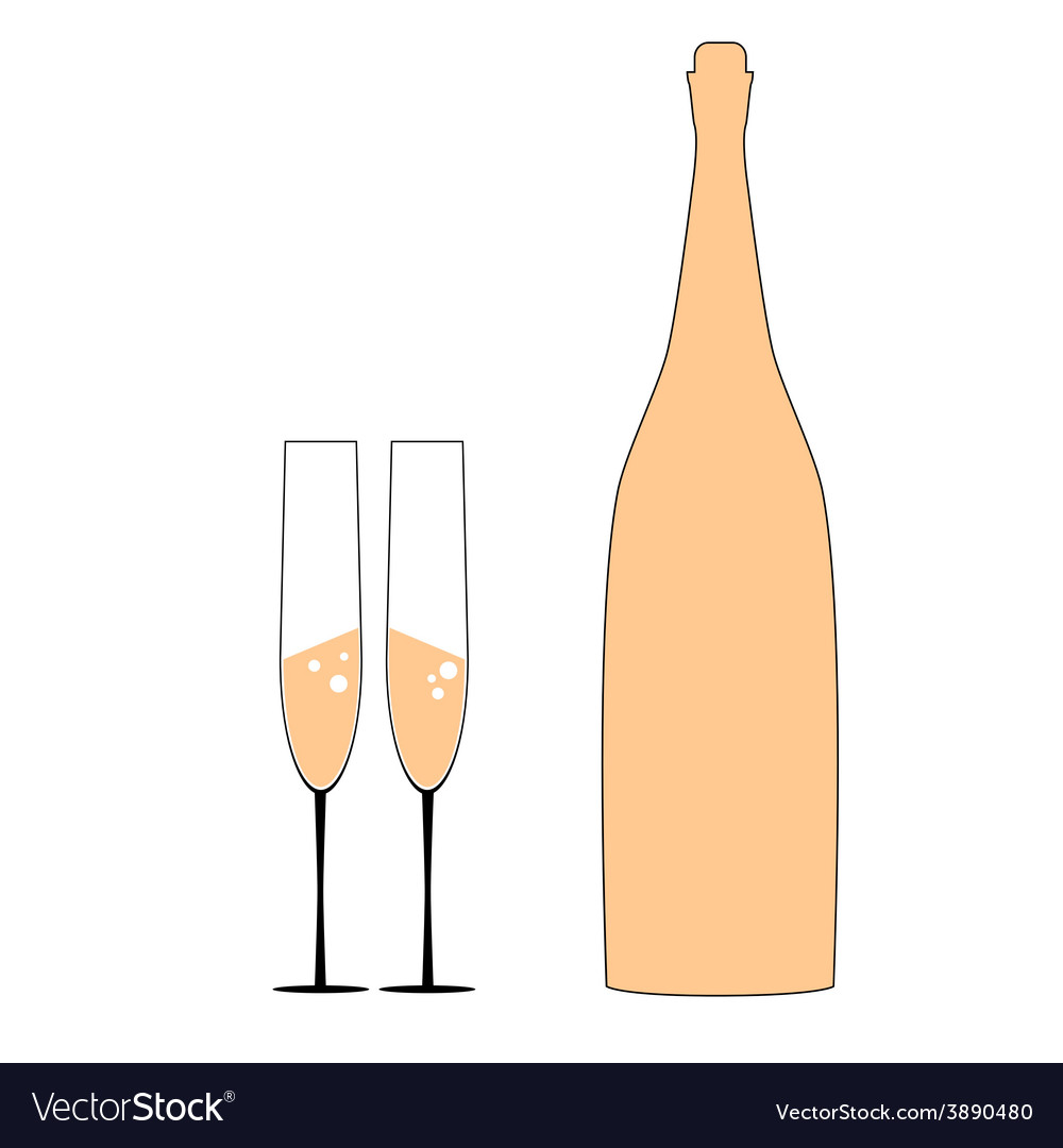Bottle and two glass vector | Price: 1 Credit (USD $1)