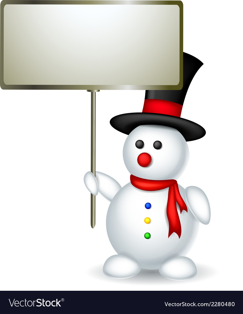 Cute snowman cartoon holding blank board vector | Price: 1 Credit (USD $1)