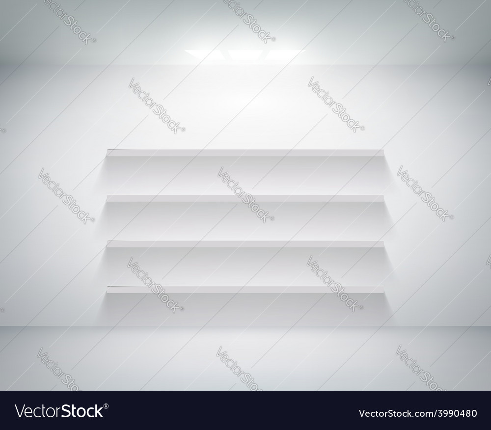 Empty shelf on white wall vector | Price: 1 Credit (USD $1)