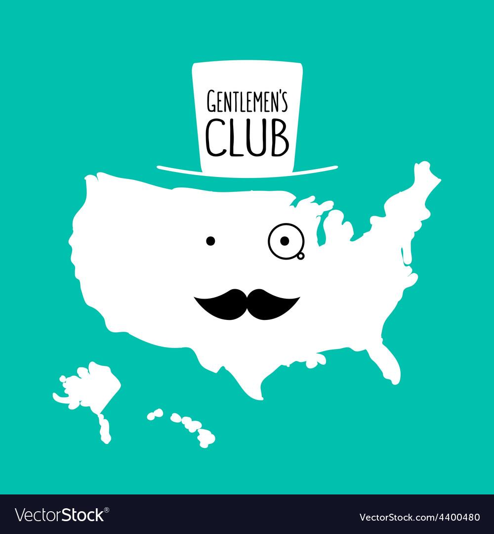 Fun moustache club flat cartoon america map vector   Price: 1 Credit (USD $1)