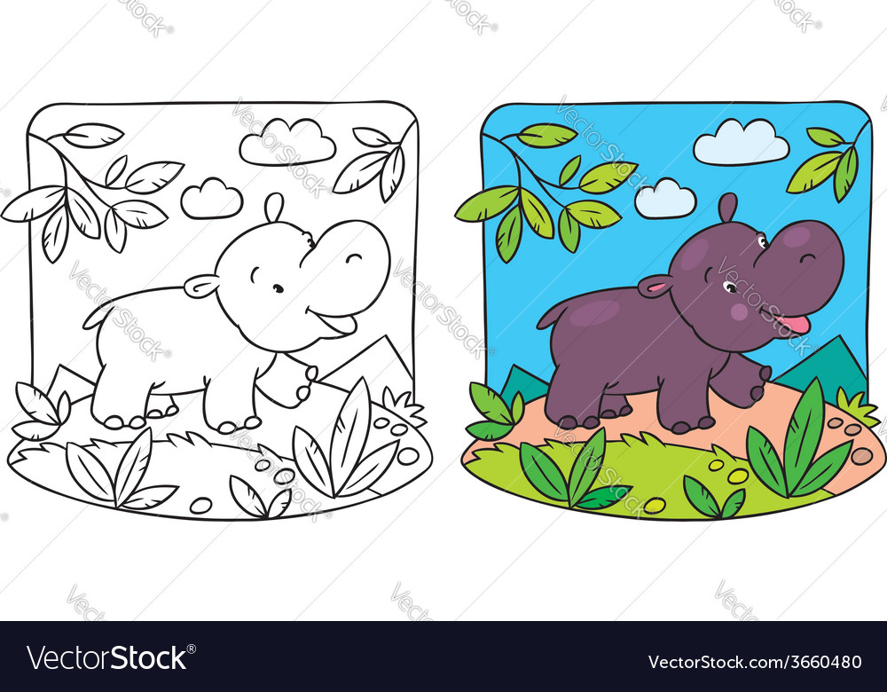 Little hippo coloring book vector | Price: 1 Credit (USD $1)