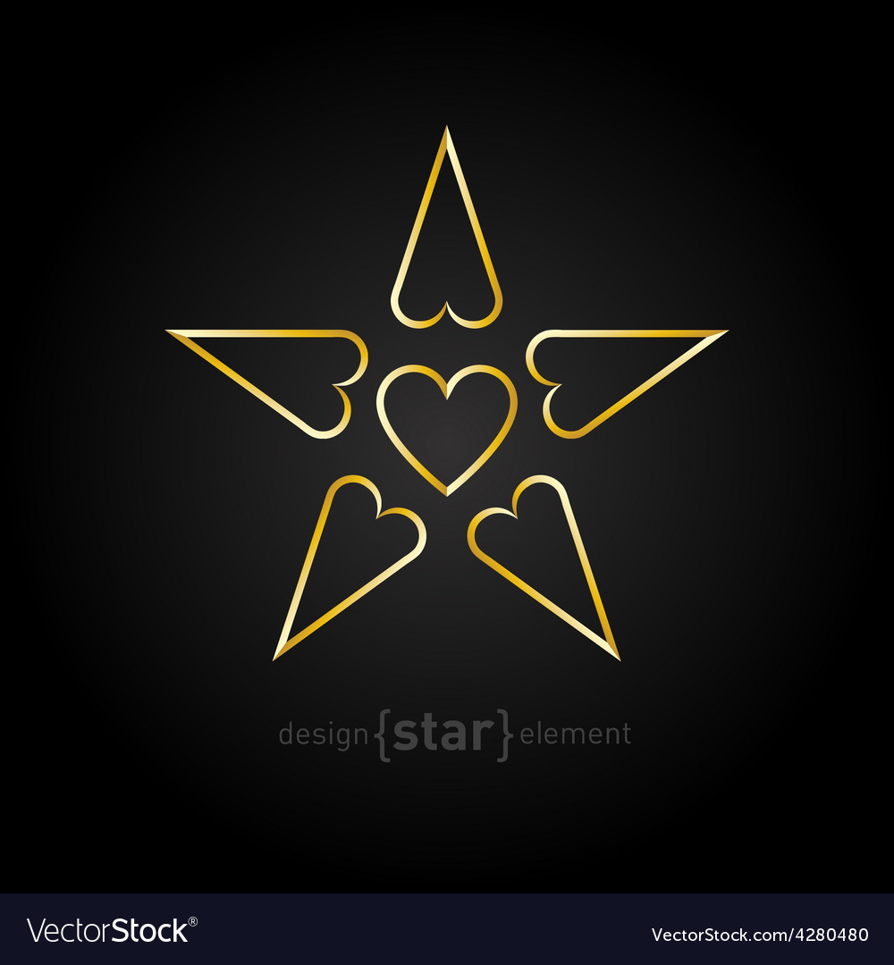 Luxury golden star with hearts on black background vector | Price: 1 Credit (USD $1)