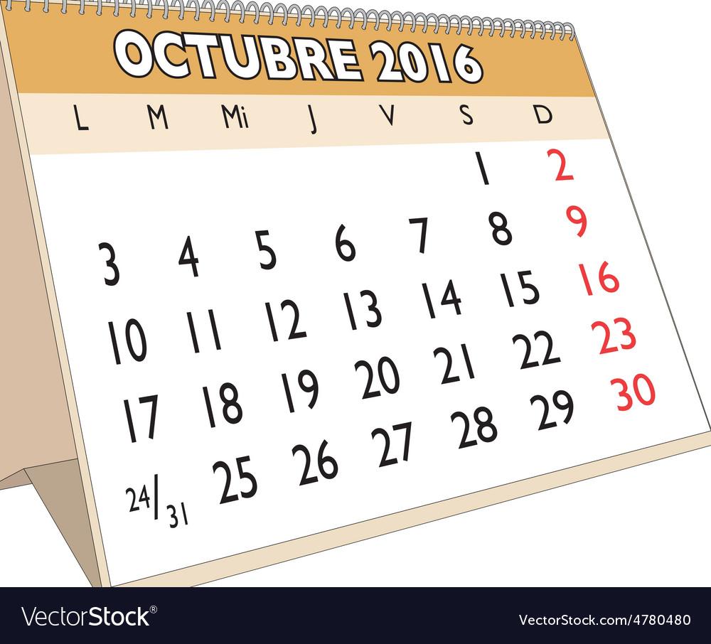 Octubre 2016 vector | Price: 1 Credit (USD $1)
