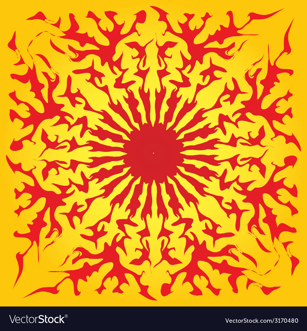 Red sun yellow background abstract pattern vector | Price: 1 Credit (USD $1)