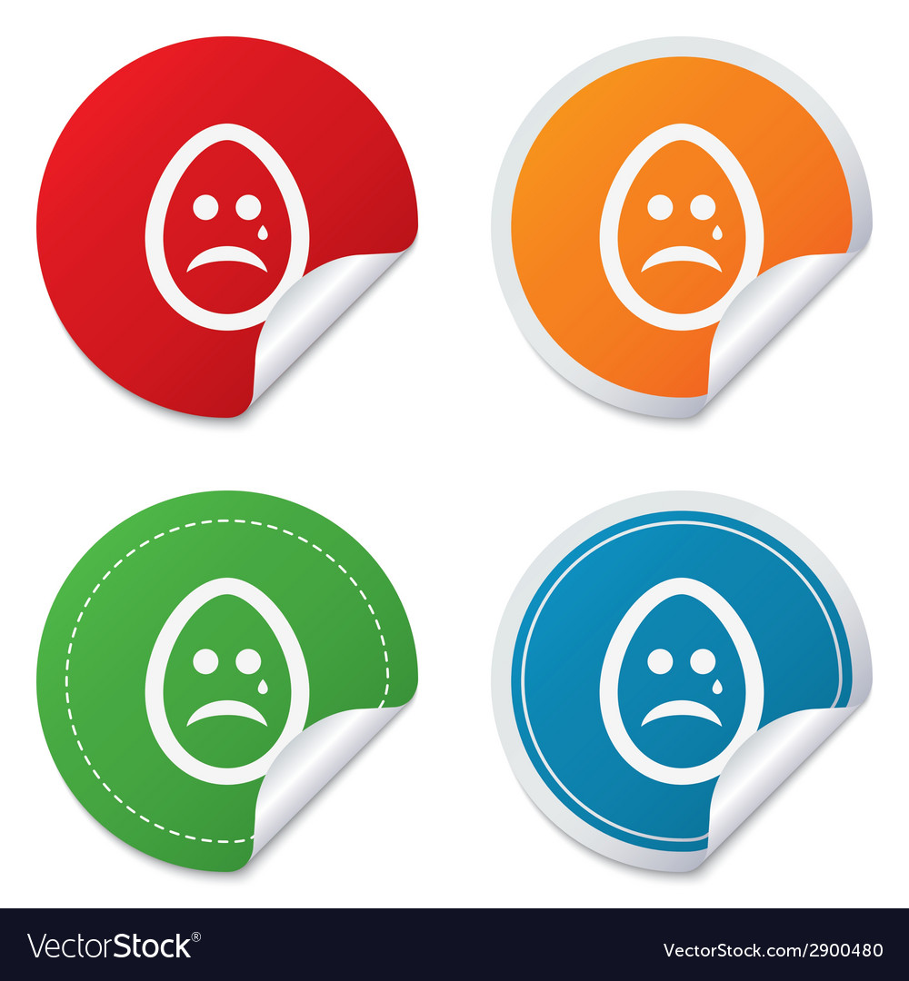 Sad egg face with tear sign icon crying symbol vector   Price: 1 Credit (USD $1)