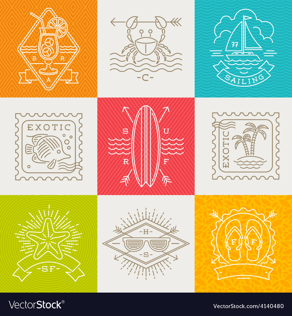 Summer vacation and travel emblems and signs vector | Price: 1 Credit (USD $1)