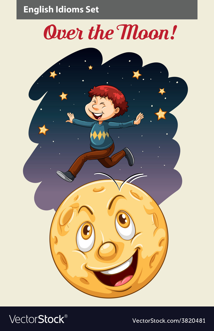 A boy over the moon vector | Price: 3 Credit (USD $3)