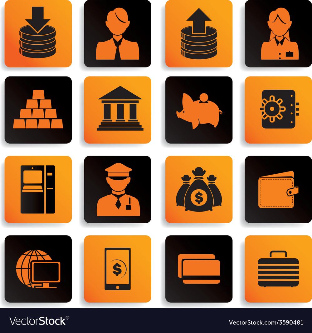 Bank icon set black orange vector | Price: 1 Credit (USD $1)