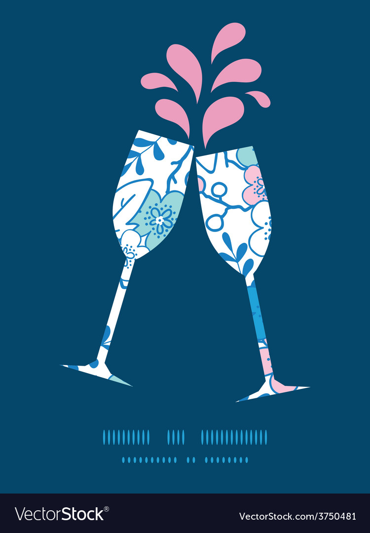 Blue and pink kimono blossoms toasting wine vector | Price: 1 Credit (USD $1)