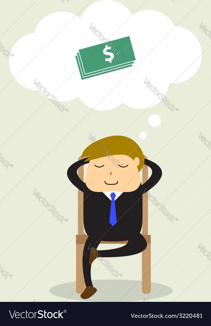 Businessman sitting on chair and thinking about do vector | Price: 1 Credit (USD $1)